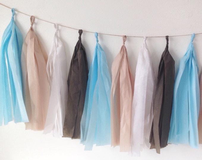 Tassel garland in brown, sky blue, white, and khaki tissue paper tassel   Birthday decor   Wedding decor   Baby shower decor