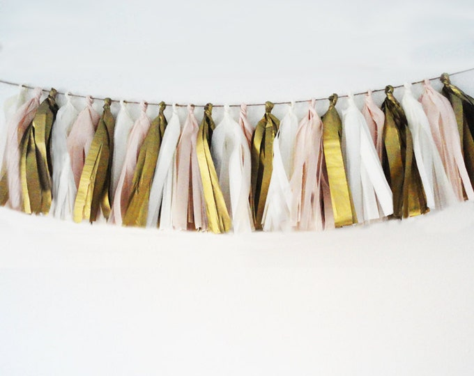 Tassel garland , Tissue tassel garland in antique gold, blush, and white for your birthday, wedding, or shower
