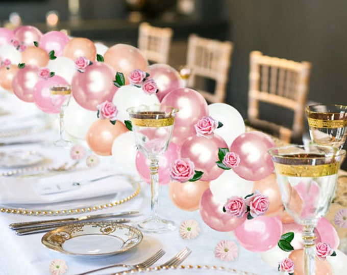 Balloon Garland Kit with Flowers Pink, White, Gold Arch Kit, Balloon Rose Garland, Balloon Arch Kit DIY, Baby Shower Decoration Ideas