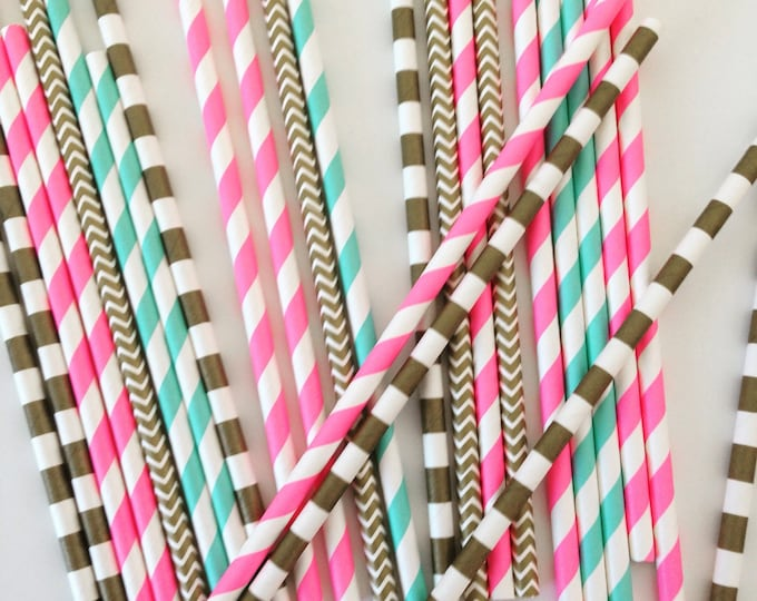 Party Straws, Gender Reveal Party Straws, Gold paper straws, Pink Paper Straws and Blue Paper Straws for a Baby Shower, Birthday or Wedding