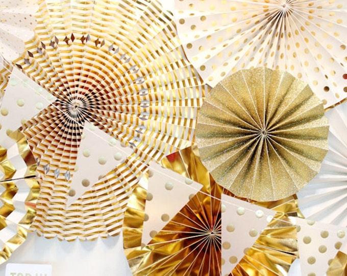 Gold rosettes, Gold Fans, Paper Pom Wheel, Gold Rosettes Backdrop, Paper Medallions, Ivory Gold Foil Paper Fans, Gold Pinwheel