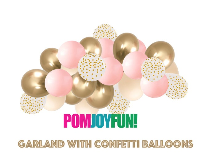 Balloon Garland Kit - Pink Blush & Gold Balloon Arch, Blush Pink Wedding Decor, Blush Pink and Gold Bridal Shower Custom arch