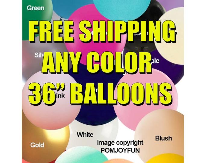 "FREE SHIPPING - Huge 36"" Round Latex Balloon Latex Balloons - USA Various Colors Big Balloons 36 inch Balloons Birthday Wedding Party Helium"