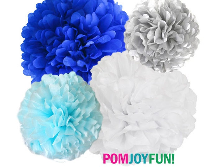 Blue Tissue Paper Poms   Ombré blue poms  4 Piece Set   Frozen Decor   Party Decorations   Blue poms   Holiday Party Decor
