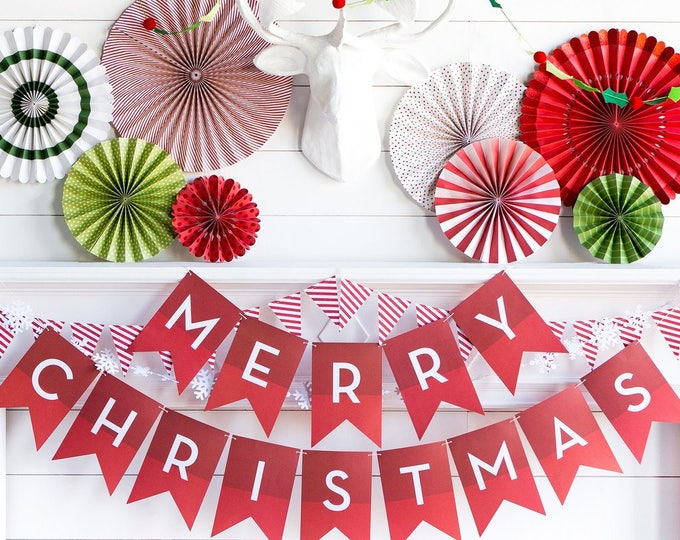 Merry Christmas Banner, Red Christmas Banner, Merry Christmas Pennant Banner, Christmas Garland, Holiday Banner, Christmas Banner