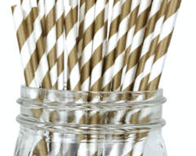 25 Gold Party Party Straws | Gold Stripe Paper Drinking Straws | Paper Straws | Gender Reveal Straws | Gold Baby Shower