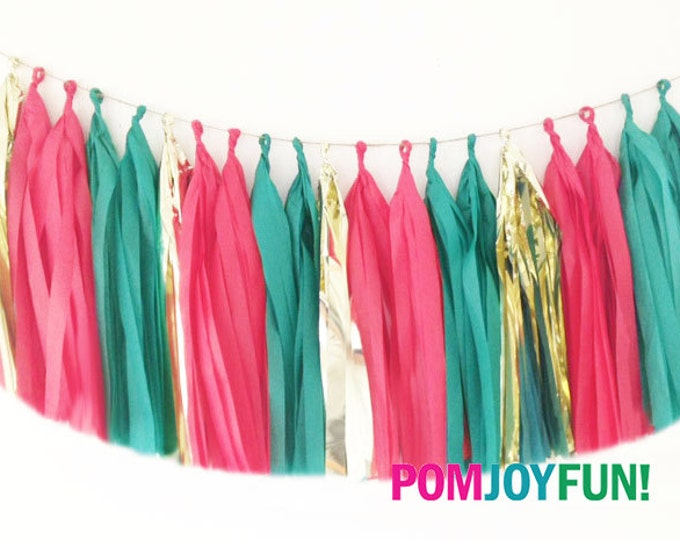 Green and Red Tassel Garland, Holiday Party Decor, Table, Door Banner,  Italian Tissue Tassel garland, Tissue garland with  metallic gold
