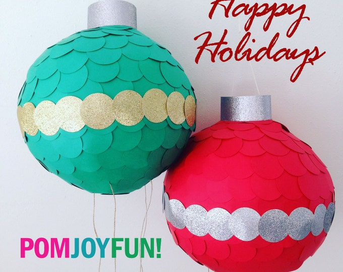 Christmas Piñata, Traditional Piñata, Ornament Piñata, Holiday Piñata, Red or Green Traditional or Pull String Piñata
