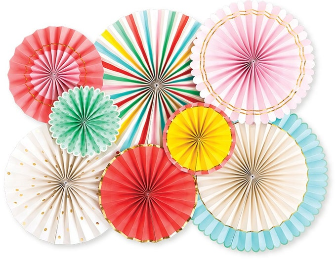 Carnival Fans, Rainbow, Girls Birthday Party, Circus Party Fans, Pink, Turquoise, Yellow, Red Party Decor, Pastel Rosette Backdrop, Wheel