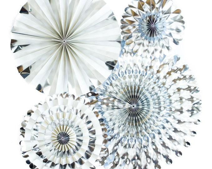 Silver Party Fans, Pom Wheel, Rosettes, Paper Medallions, Paper Pinwheel in Metallic Silver