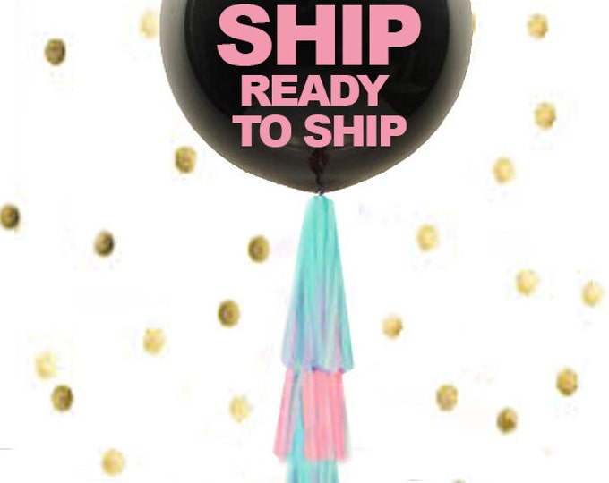 Gender Reveal Balloon FAST shipping ready GO Gender Reveal Party Balloon, Black Gender Reveal Balloon, Fast Shipping Ready to Ship