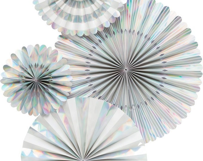 Holographic Silver Party Fans, Iridescent Pom Wheel Rosettes, Paper Medallions, Paper Pinwheel in Metallic Silver Rainbow