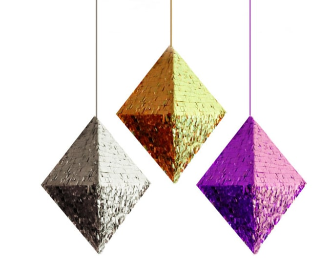 Diamond Piñata, Gold, Silver, or Purple Mylar, Pyramid Piñata, Octahedron Pinara, Metallic Piñata, Wedding Piñata, Baby Shower Piñata