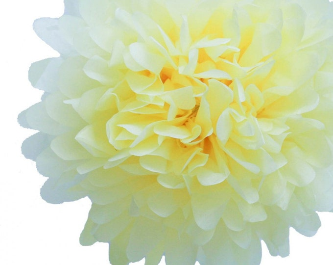 Light Yellow Tissue Paper Pom, Light Yellow Pom, Yellow Tissue Paper Pom Pom, Yellow Paper Flower, Tissue Flower, Wedding and Birthday Decor