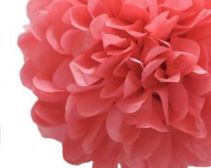 Island Pink Tissue Paper Pom, Salmon Pink Pom, Pink Tissue Paper Pom Pom, Pink Paper Flower, Tissue Flower, Wedding and Birthday Decor