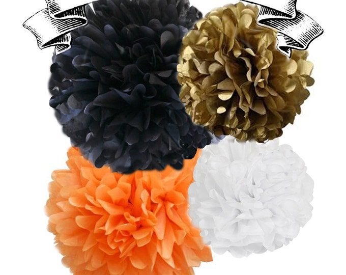 Orange, Gold, Black, and White | Tissue Paper Pom Poms | 4 Piece Set | Halloween Poms | Halloween Party Decorations | Autumn Party | Fall