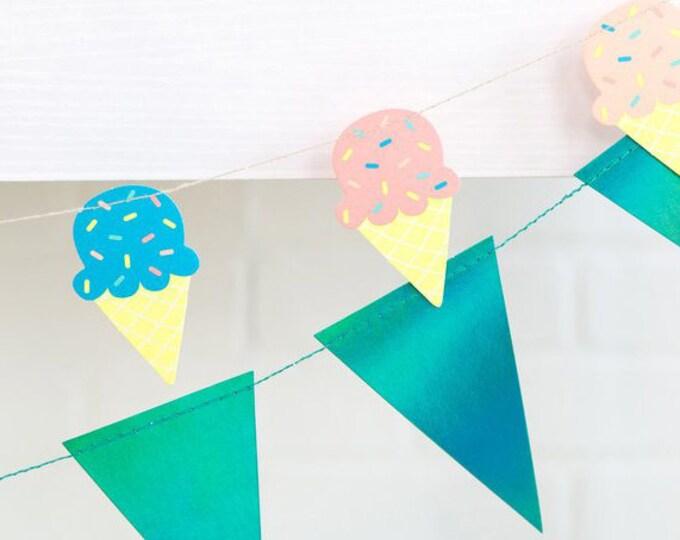 Unicorn Banner, Iridescent Pennant Garland, Metallic Blue Pennant Banner, Iridescent Green Triangle Banner, Blue Green Party Banner