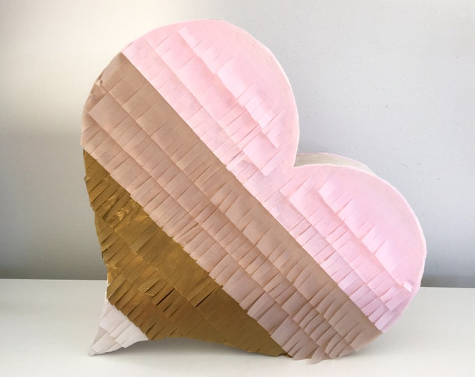 Birthday Pinata, Blush, Light Pink, Antique Gold, and Ivory Heart Piñata, Heart Shaped Piñata, Blush Wedding Piñata