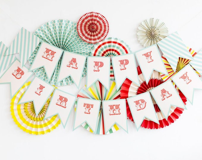 Carnival Happy Birthday Banner, Circus Themed Happy Birthday Banner, Birthday Banner in Aqua and Red,  Vintage Style  Birthday Banner