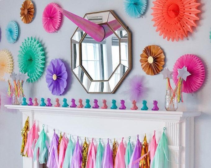 Pastel Rainbow Garland Unicorn tassel garland, pastel Unicorn Tassel Garland, unicorn Party Decorations, pastel Rainbow Decor, Rainbow Baby