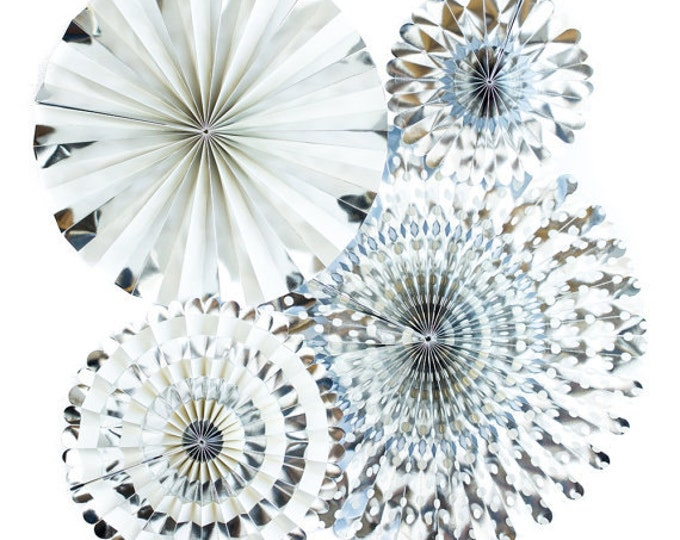 Silver Rosettes, Party Fans Christmas, Holiday, Birthday Decor Metallic Pom Wheel, Bachelorette, Winter Medallions Pinwheel, Grey, Gray