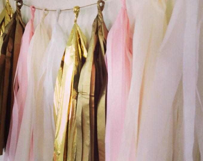 Garland tassel in metallic gold, antique gold, light pink, ivory, and white tissue paper tassel | Birthday | Wedding | Baby shower