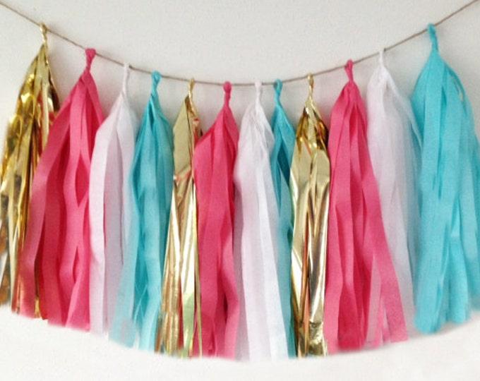 Garland tassel in metallic gold, coral pink, aqua blue, and white tissue paper tassel, Birthday Wedding, Baby shower..