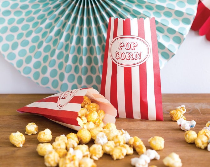 Carnival Treat Bags, 24 Popcorn Bags, Circus Themed Party Decor, Carnival Birthday Party Bags, Circus treat Bags, Carnival Treats, Carnival