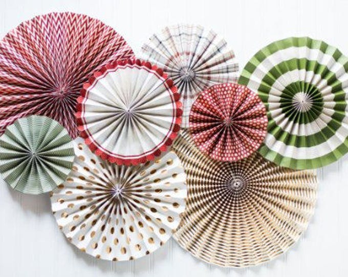Red, Green and GOLD Rosettes, Holiday Party Ideas, Pom Wheel, Rosettes Paper Medallions, Paper Pinwheel, HYP107