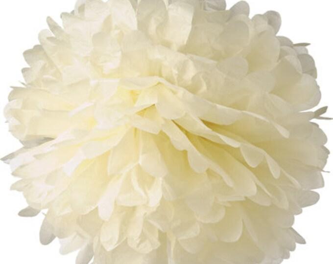 Ivory Tissue Paper Pom, Ivory Pom, Cream Paper Pom Pom, Cream Paper Flower, Tissue Flower, Wedding and Birthday Decor