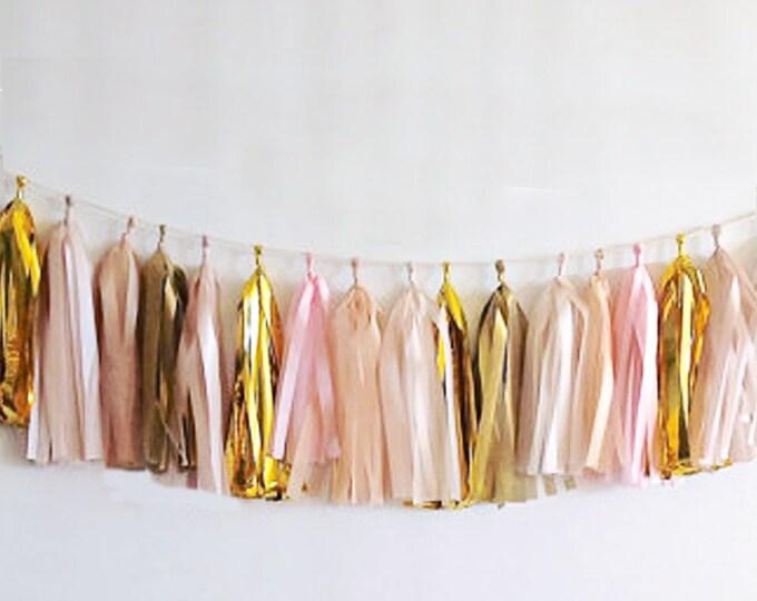 Tassel Garland Assembled in gold, light pink, white, antique gold, and ivory, blush paper tassel, Birthday, Wedding Decor, Baby shower ideas