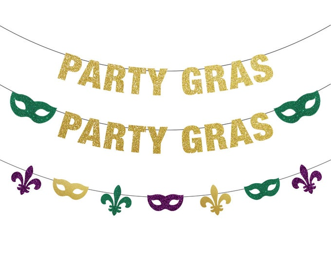 Party Gras Banner, Mardi Gras Decorations, Mardi Gras Banner, Mardi Gras Bachelorette, Mardi Gras Backdrop, Fat Tuesday, Mardi Gras