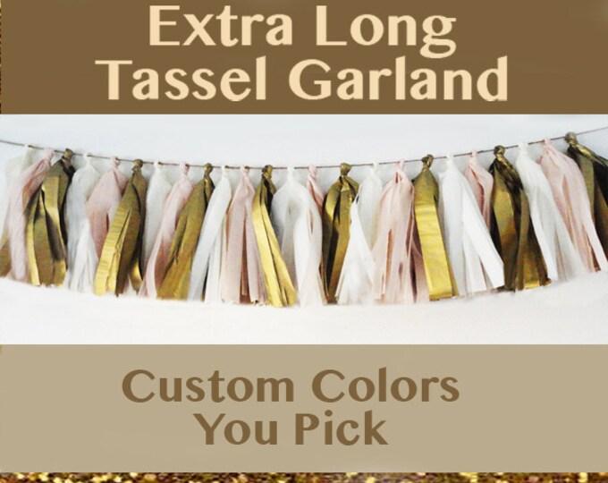 Blush, Pink, Tassel Garland, Ready to hang, Girls Furst Birthday, mom, sister party ideas, Custom Color 30 Tassels