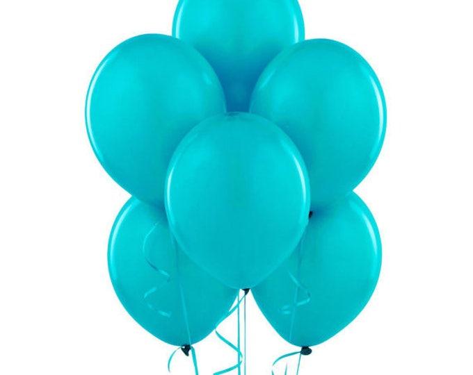 Turquoise Latex Balloons 100 balloons or 50 balloons 12 Inch, Fast Shipping Aqua Colored Bulk Balloons, Aqua Blue Balloons