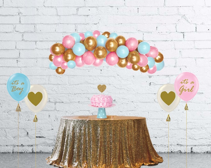 Gender Reveal Ideas, Balloon Arch Kit, Balloon Garland, DIY Balloon Garland Kit Pink, Blue and Gold, Gender Reveal Balloon Arch