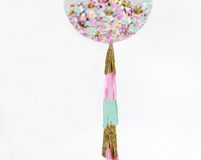 """Confetti Balloon, Giant Balloon with Tassel and Confetti Custom Colors 36"""" Balloon with 5 Foot Fringe or Small Confetti Balloon"""