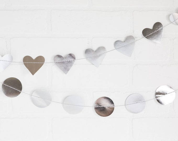 Valentine Heart Paper Garland, Silver Heart Banner, Wedding Garland, Silver Foil Banner, Mini Heart Banner, Birthday Party Banner ideas