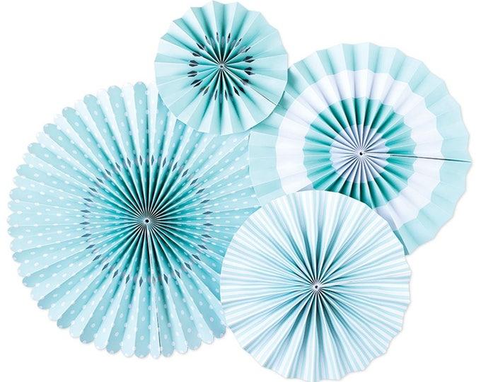 Party Fans in Sky Blue, Light Blue Pom Wheel, Baby Blue Rosettes Baby Blue Paper Medallions, Sky Blue Paper Fans, Paper Pinwheel, Baby