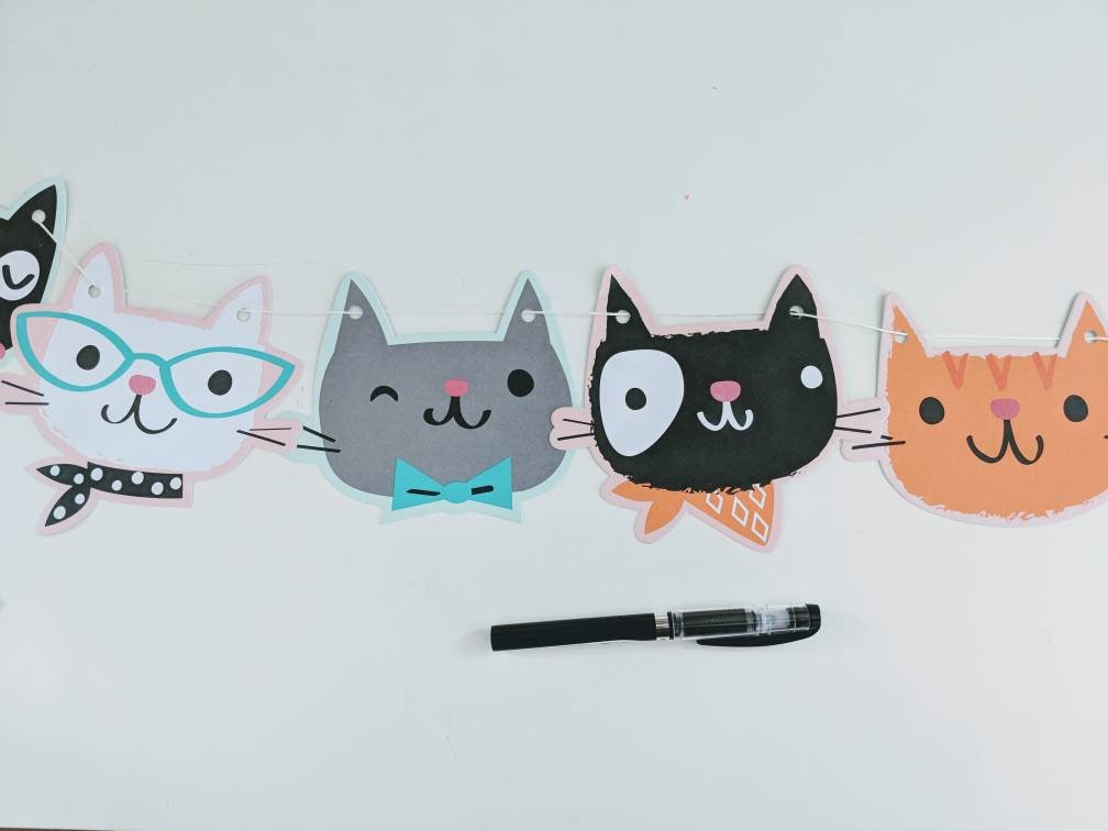 Kitty Banner Cat Birthday Party Decorations Supplies