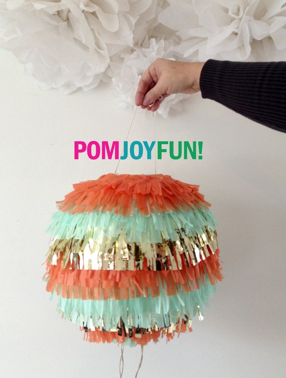 Custom Color Piñata Gender Reveal Fringe Piñata Birthday Baby