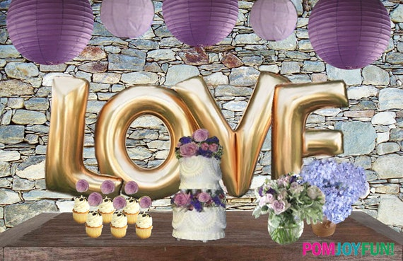 Love Balloons Gold Or Silver Foil Letter Balloons Super Etsy