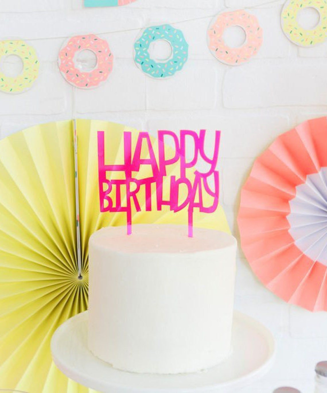 SALE Happy Birthday Cake Topper Hot Pink