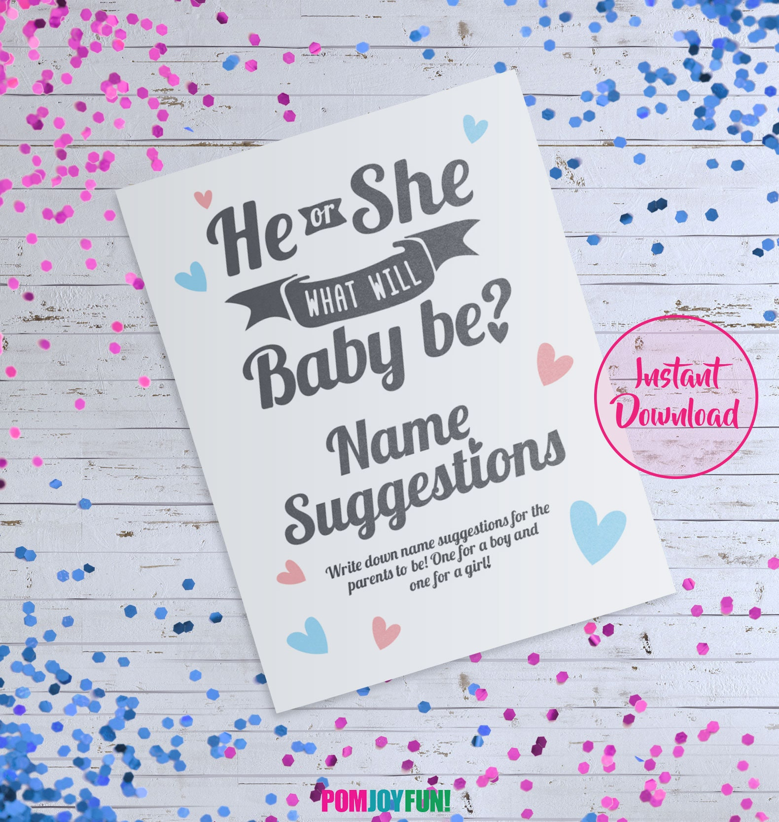 he or she what will baby be sign name suggestion card game he or