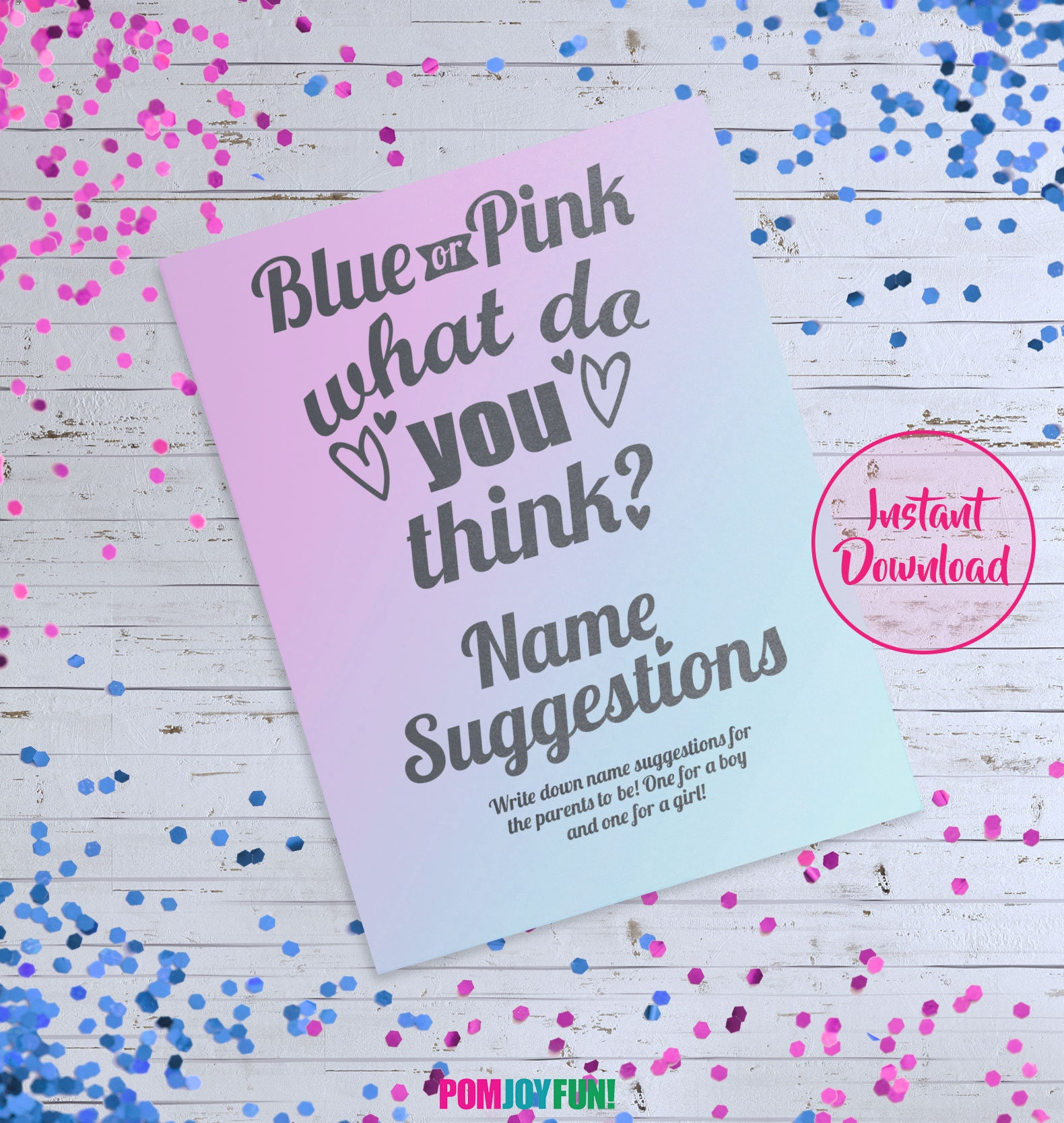 Gender Reveal Game Printable Blue Or Pink What Do You Think Game