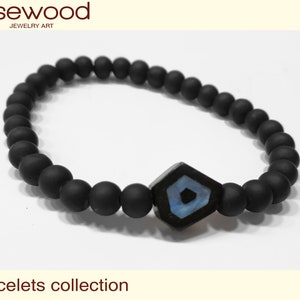 Perfect Gift BRACELET EYE Wooden High quality Handmade Jewelry by Silver 925 and Rosewood
