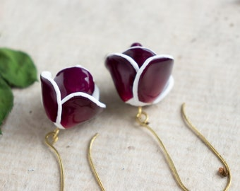 Unique Earrings With Real Rose Petals, Rose Earrings, Real Flower Earrings, Rose Jewelry, Preserved Flower Jewelry, Flower Jewelry,
