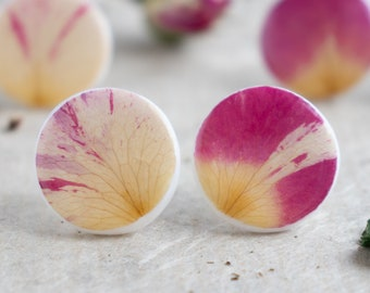 Stud Earrings With Real Rose Petals, Circle Earrings, Rose Stud Earrings, Real Flower Earrings, Preserved Flower Jewelry, Flower Jewelry,