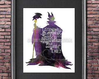 Maleficent 8x10 Printable Disney VILLAIN POSTER -- Digital / Instant Download / Sleeping Beauty / Disney Wall Art / Home Decor