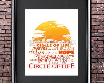 Circle of Life 8x10 Poster -- DIGITAL DOWNLOAD / Instant Download / Printable / Lion King