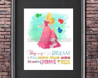 Sleeping Beauty Princess Aurora 8x10 Printable Poster - DIGITAL / Instant Download / Disney Quote Wall Art / Home Decor / Disney Princess
